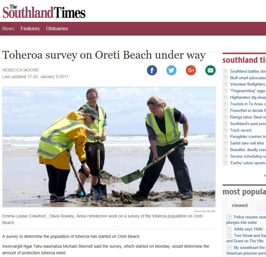 2017-01-09 Southland Times Toheroa Newspaper