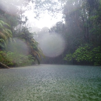 The heavens open over Tasik Air Biru as we swim