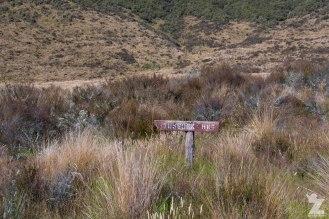 Tussock Hut Sign, Kaweka and Kaimanawa Forest Park, New Zealand 20-01-2018