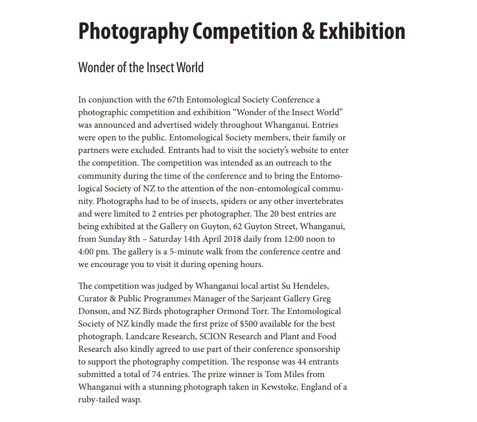 2018 Entomological Society of New Zealand - Photography Competition and Exhibition