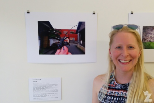 "Emma with her entry ""Take-off!"" at the Gallery on Guyton, Whanganui, New Zealand"