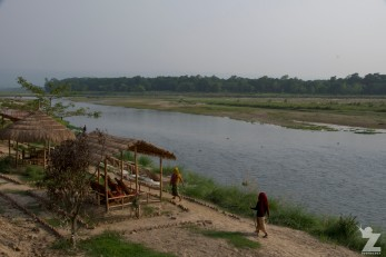 Jungle Wildlife Camp - At dinner looking over the river at Chitwan Nation Park