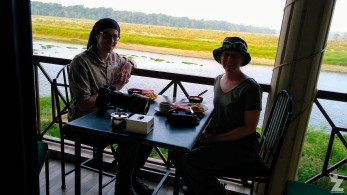 Breakfast time at Jungle Wildlife Camp with a view of the river and Chitwan National Park